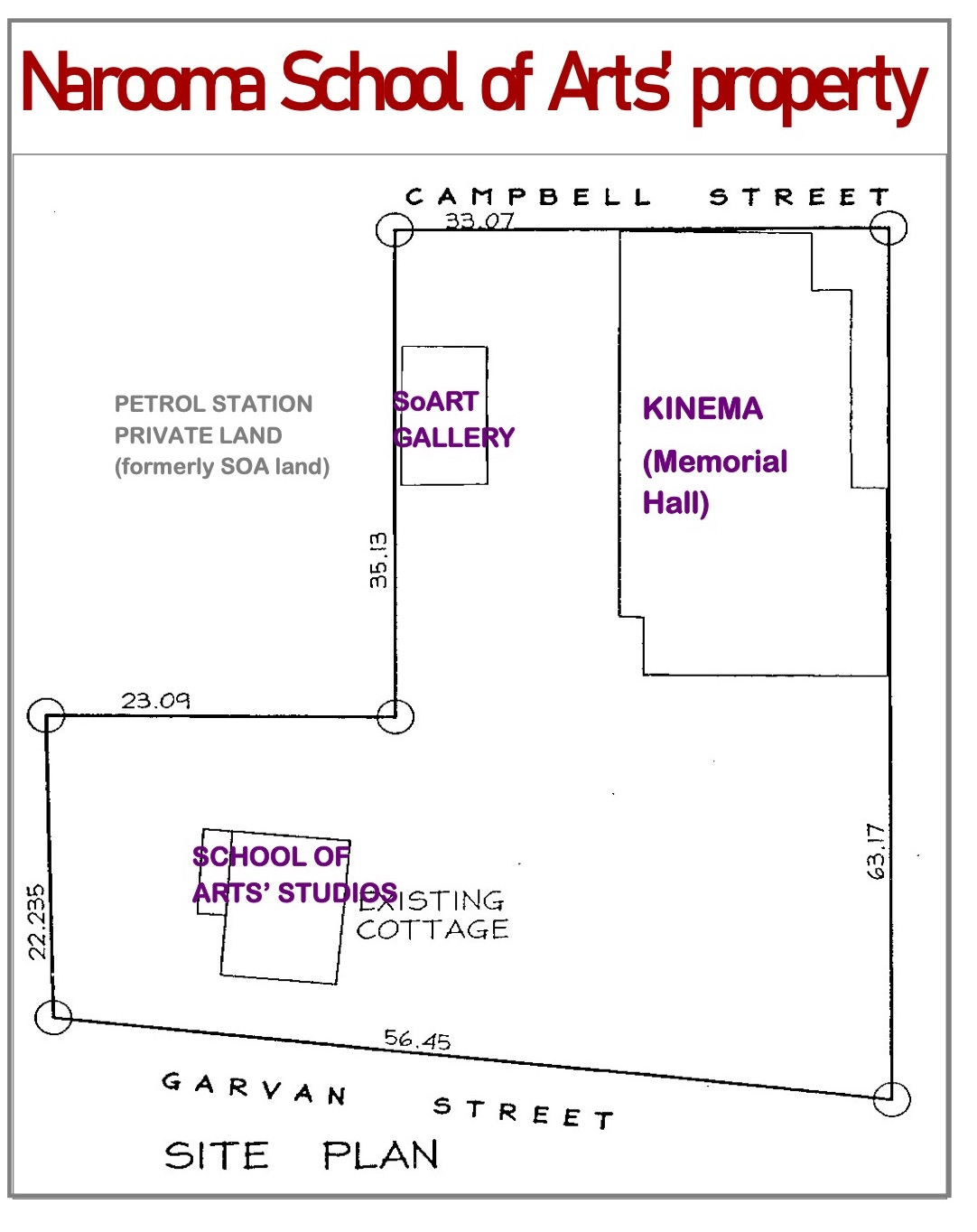 Site Plan of Narooma School of Arts Property