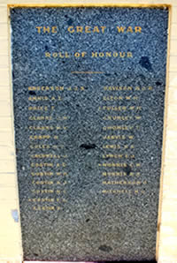 Roll of Honour from the First World War